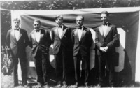 Five male students from the class of 1933 standing...