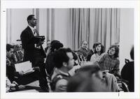 Page 163: Harry L. Hamilton, professor of atmospheric science, speaks at a Senate meeting.  Students focused on gaining membership in the University Senate in 1969.