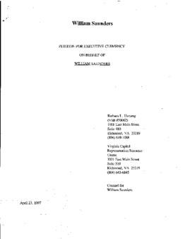 Saunders, William, VA Clemency granted