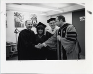 Page 190 A-Top: State Sen. Kenneth LaValle, Lisa LaValle, '86, President O'Leary and Governor Mario Cuomo at Commencement