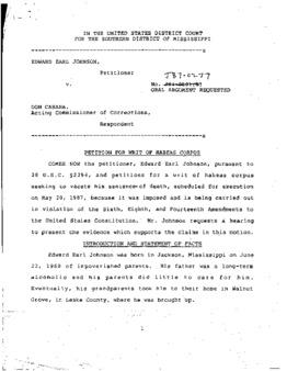 Johnson, Edward Earl, MS - Petition for Writ of Habeas Corpus