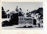 Page 76 B-Bottom: A homecoming Dormitory Fund float.