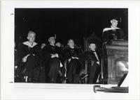 Page 91: College centennial observation.  From left to right: author John Erksine; Regent Leland Thompson; U.S. Commissioner of Education George Stoddard; Judge Newton B. VanDerzee; President John Sayles.