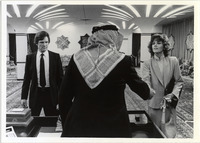 Page 181 B-Bottom: Kris Kristofferson and Jane Fonda in the Campus Center's Assembly Hall, which was converted for the filming of the movie Rollover.