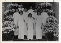 Page 69 B-Bottom: Edna Merrit, '18, was one of many Albany graduates who became missionaries.  She is pictured here in 1936 with the junior high graduating class at Sienyu in Fukien, China.