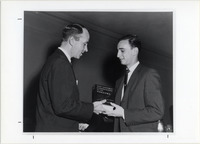 Page 122 B-Bottom: Dr. Arthur Collins, '48 presents Robert Steinhauer, '62 with the Agnes Futterer Award.