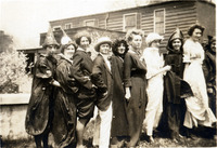 Group of women students dressed in costumes...
