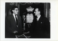 Page 112 A-Top: Hillel member Marvin Wayne, '49 and group advisor Rabbi Moseson