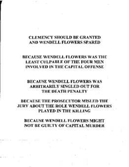 Flowers, Wendell, NC Clemency granted
