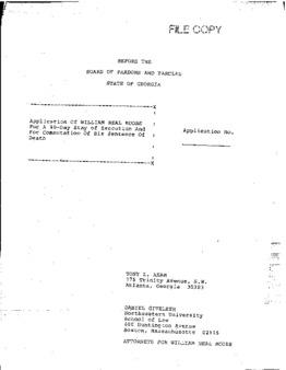 Moore, William Neal, GA Clemency granted
