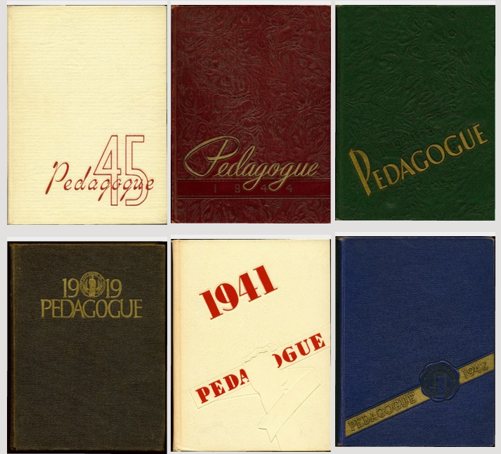 Covers of 6 UAlbany Pedagague yearbooks.